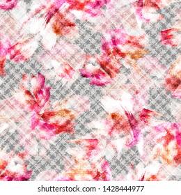 rose leaf plaid ekose seamless pattern of crow's feet  watercolor textile Pattern