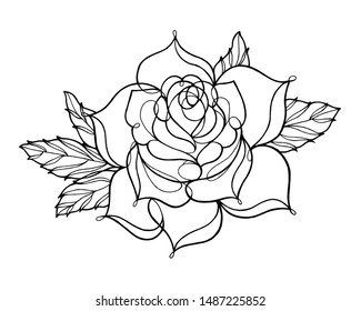 A rose line art drawing