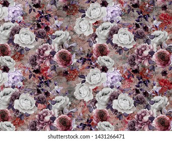 ROSE PATTERN ABSTRACT FLOWER PRİNT  DESİGN ART
