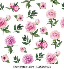 rose peony watercolor pattern spring flowers