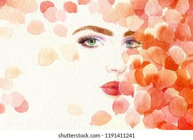 rose petals. beautiful woman. fashion illustration. watercolor painting