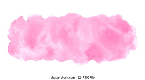 Rose pink watercolor stains painted texture. Valentines, 8 March, Women day watercolour background for text, banners. Rounded elongated, long rectangle shape, brush stroke. Hand drawn aquarelle fill.