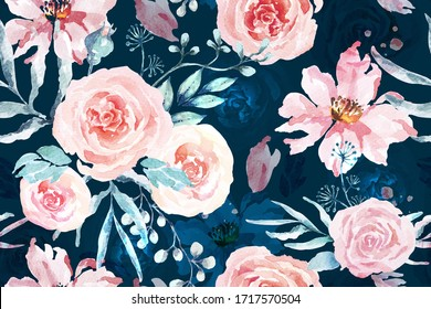 Rose seamless pattern with watercolor on blue background.Designed for fabric luxurious and wallpaper, vintage style.Hand drawn floral pattern illustration.Rose garden.Pink flower bouquet.