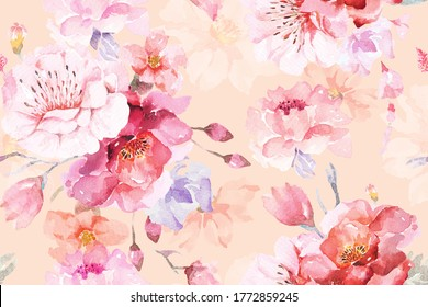 Rose seamless pattern with watercolor pastel color background.Designed for fabric luxurious and wallpaper, vintage style.Hand drawn floral pattern illustration.Rose garden.Pink flower bouquet.
