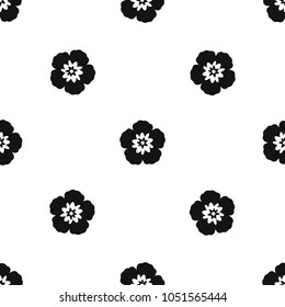 Rose of Sharon, korean national flower pattern repeat seamless in black color for any design. geometric illustration