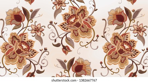 rose, tulip, peony, embroidery flowers mix fabric texture pattern