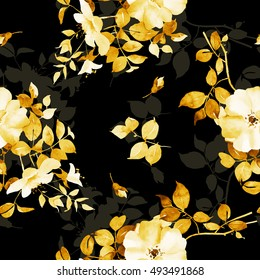 Rose watercolor flower seamless pattern in black and gold