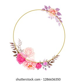 Rose,Leaf,Wedding Watercolor Wreath, Bouquets,Frame Floral,Flowers arrangement decorate,Hand painted,isolated on white background, floral invitations, greeting card, DIY.
