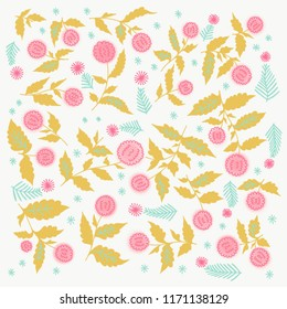 Roses Barocco flowers abstract pattern. Retro victorian detailed classical background