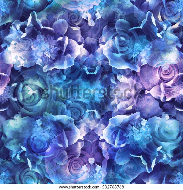 Roses blue seamless pattern. Abstract background texture. Vintage textile print, package design, fabric and fashion concepts.