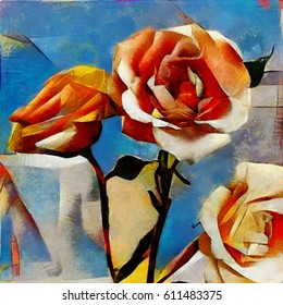 Roses. A bouquet of beautiful flowers in a modern style and cubism from Picasso. Executed in oil on canvas with elements of fine art pastel painting. For gift and interior.