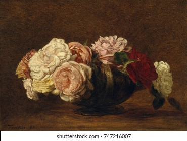Roses in a Bowl, by Henri Fantin-Latour, 1883, French impressionist painting, oil on canvas. Fantin-Latour sold many of his works in England, where his conservative style and virtuosity were admired