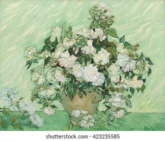 Roses, by Vincent van Gogh, 1890, Dutch Post-Impressionist painting, oil on canvas. It is among his largest and most beautiful still lifes, with an exuberant bouquet. It has a fresh spring green back