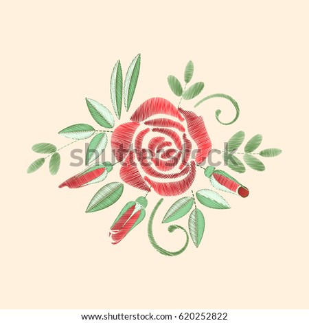 Royalty Free Stock Illustration Of Roses Embroidery Simple Floral