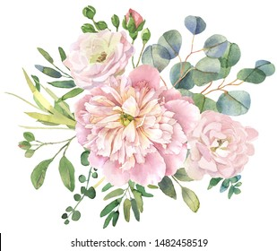 Roses and eucalyptus wedding bouquet. Watercolor flower illustration