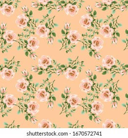 Roses, flowers, leaves, branches foliage Floral vintage seamless pattern. Gold, blush pink and green. illustration watercolor hand paint For design textiles, paper, wallpaper, backdrop