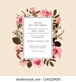 Roses and leaves. Wedding Invitation, floral invite card. Vector decorative greeting card, invitation design background