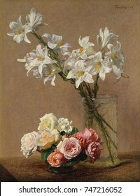 Roses and Lilies, by Henri Fantin-Latour, 1888, French impressionist painting, oil on canvas. Examination of this paintings detail, reveals Fantin-Latours use of the wood brush handle to delineate the
