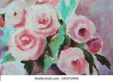 Roses, original oil painting on canvas. Picture with different textures and colors. Pink rose, pastel colors.