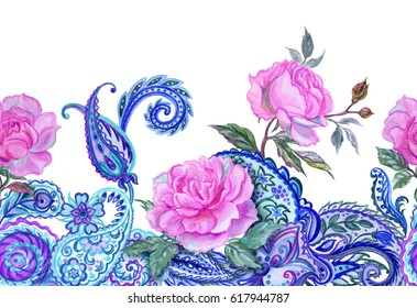 Roses and paisley,  watercolor border. Painted seamless border of roses and oriental  patterns.