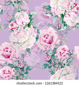 Roses and Peonies watercolor illustration pattern