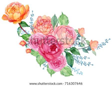 Roses pinkred yellow flowers arrangement watercolor stock roses pinkred and yellow flowers arrangement watercolor mightylinksfo