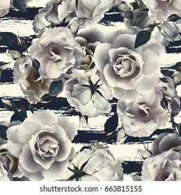 Roses seamless pattern. Artistic background.