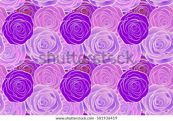 Roses seamless pattern with flowers in Victorian style. Raster vintage design. Bouquet of retro plants. Abstract rose background. Floral illustration.