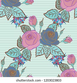 Roses seamless pattern. Retro background with pink, blue and gray roses. Shabby chic illustration.