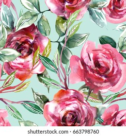 Roses Seamless Pattern. Watercolor Background.