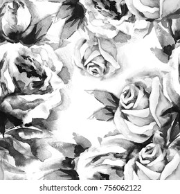 Roses Seamless Pattern. Watercolor Illustration.