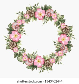 Roses and shells. Watercolor flower seamless wreath.