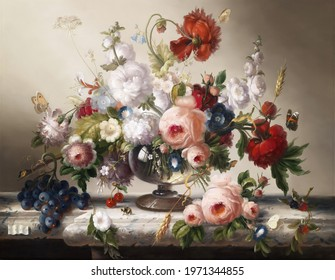 Roses and tulips  . Still life. In the style of the ancient Dutch masters. Painting oil canvas 2021.
