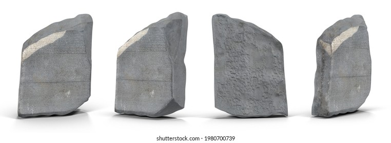 Rosetta Stone is part of inscribed granite stele that was originally about six feet tall and was set up in 196 BC. Isolated white background 3d illustration different angle view realistic set