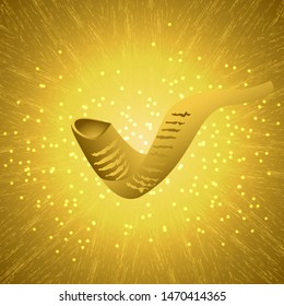 Rosh Hashanah. Concept of a religious Jewish holiday. Shofar - mutton horn. Text in Hebrew - New Year. Grunge background, glows, sparkles