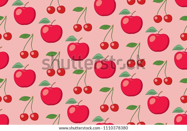 rosy fruit seamless pattern with apples and cherries