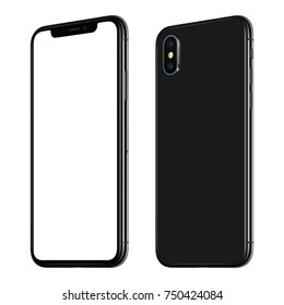 Rotated smartphone mockup front and back side. New modern black frameless smartphone mockup with white screen and back side with dual camera module. Isolated on white background.
