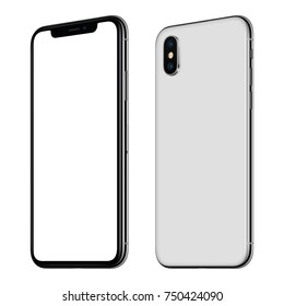 Rotated smartphone mockup front and back side. New modern white frameless smartphone mockup with white screen and back side with dual camera module. Isolated on white background.