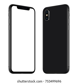 Rotated smartphone mockup front and back side. New black frameless rotated smartphone mockup with blank white screen and back side facing each other. Isolated on white background.
