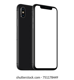 Rotated smartphones mockup front and back side. New modern black frameless smartphone mockup with blank white screen and back side one above the other. Isolated on white background