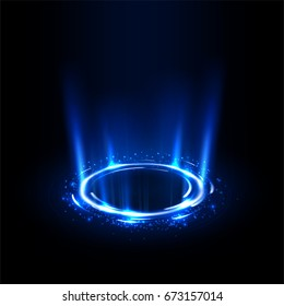 Rotating blue rays with sparkles. Suitable for product advertising, product design, and other