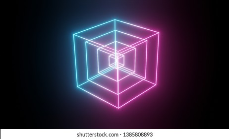 Rotating glowing neon cube, fluorescent ultraviolet light, abstract 3d illustration geometric background