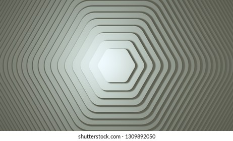 Rotating hexagon of different sizes on white background. 3D rendering.