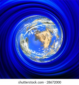 Rotating planet in blue spiral