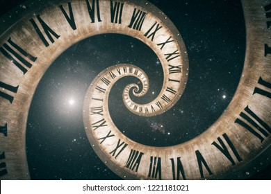 Rotating spiral of clock from numbers abstract 3d illustration