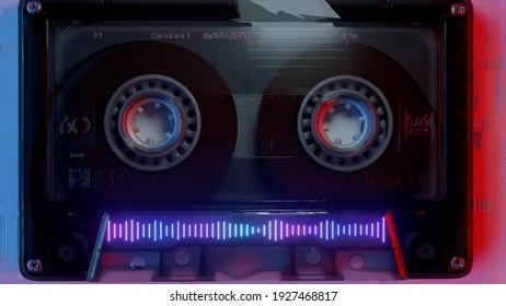 Rotating tape on an old vintage cassette. Retro music concept. Neon equalizer. Vintage neon lighting. 3d illustration