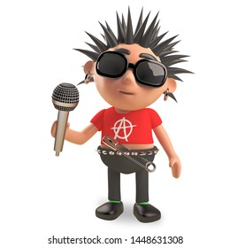 Rotten punk rocker with spikey hair sings into the microphone, 3d illustration render