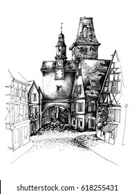 Rottenburg Germany pen graphic sketch