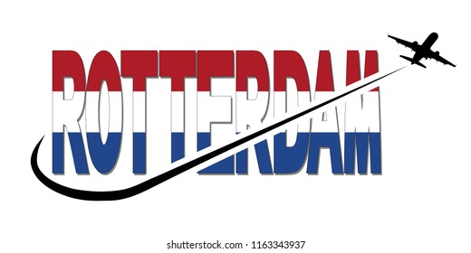Rotterdam flag text with plane silhouette and swoosh illustration