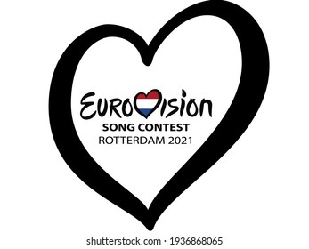Rotterdam, Netherlands May 2021. - Eurovision Song Contest 2021. Text Rotterdam 2021 Eurovision Heart on white background